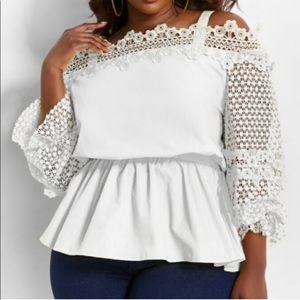 ASHLEY STEWART White Lace Boho Peasant Blouse Top